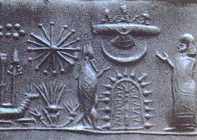 Mesopotamian cylinder seal atomic structures