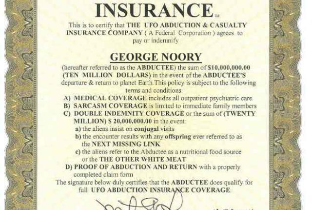 Alien Abduction Insurance