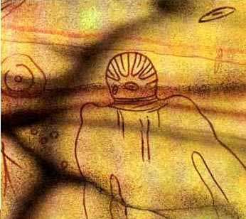 Alien cave painting from Tassili
