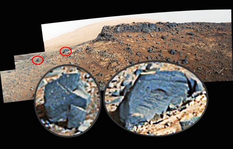 Aliens on Mars 2012 hieroglyphic rock