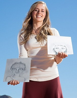 (Bridget Nielsen with her hand sketch alien babies)