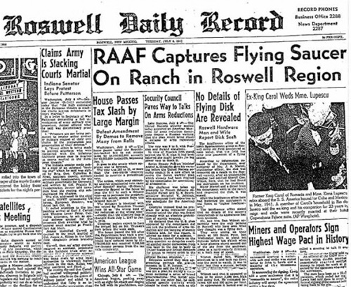 RAAF Roswell Daily Record newspaper