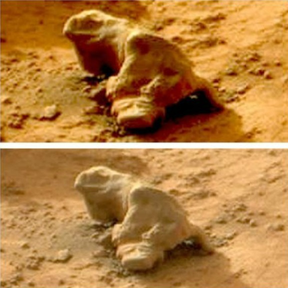 aliens statues of iguanas on Mars